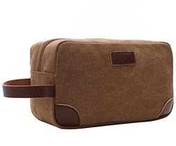 Travel Toiletry Bag,Vintage Leather Canvas Shaving Zipper Do