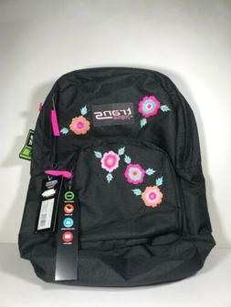 Trans JanSport Backpack! Womens Black Embroidered Flowers!