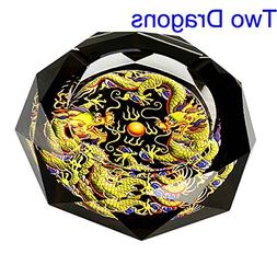 two dragons crystal cigarette ashtray
