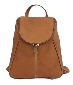 Piel Leather U-Zip Flap Backpack in Saddle