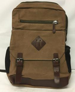 Kenox Unisex Brown Vintage Canvas Backpack Laptop Bag Hiking