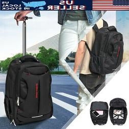 US 18'' Trolley Wheeled Backpack Travel Luggage Suitcase Han