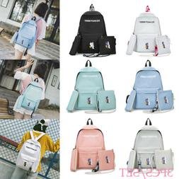 US 3pcs/Set Backpack Women Canvas Travel Bookbags School Bag
