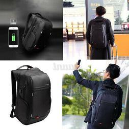 "US Men 15/17"" Notebook Waterproof Laptop Backpack+USB Char"