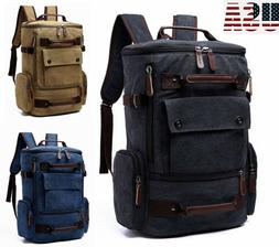 US Mens Canvas Travel Backpack Vintage Laptop Bag Large Spor