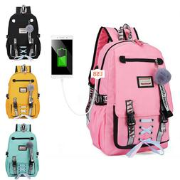 US Womens Large School Bags For Teenage Girls USB With Lock