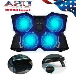 USB Adjustable Laptop Cooler Cooling Pad Stand Fan Blue LED