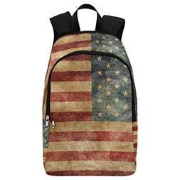 InterestPrint Vintage American Flag Casual Backpack College