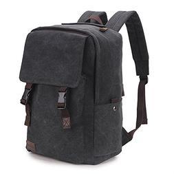 Vintage Backpack,17 inch Water Resistant Canvas Laptop Backp