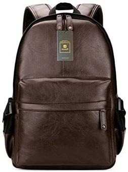 Vintage Book Bag Leather Laptop Backpack Womens Mens Daypack