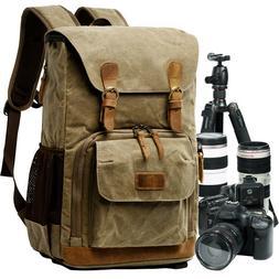 Vintage Canvas Camera Backpack Bag Laptop Waterproof for Can