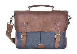 Gootium Vintage Canvas Genuine Leather Trim Briefcase Messen