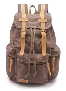 Sweetbriar Vintage Canvas Laptop Backpack, Mocha - Protects