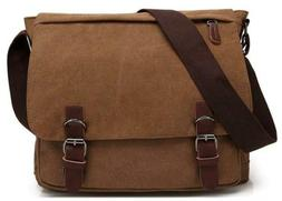 Kenox Vintage Canvas Laptop Messenger Bag School Business Br