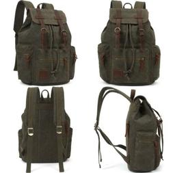 KAUKKO Vintage Casual Canvas and Leather Rucksack Backpack 1