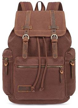 BESTOPE® Vintage Men Casual Canvas Leather Backpack Rucksac