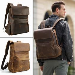 Vintage Large Real Leather Backpack For Men Hiking Travel Ca