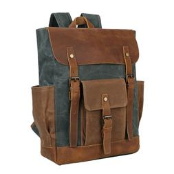"""Vintage Leather & Waxed Canvas Backpack Men Travel 15"""" Lapto"""