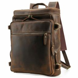 "Vintage Leather Backpack Men Travel 16"" Laptop Satchel Daypa"