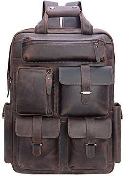 Iswee Vintage Leather Backpack Multi Pockets 17' Laptop Ca