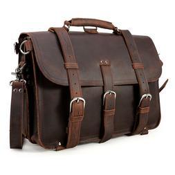 """Vintage Leather Men's 17"""" Laptop Backpack Briefcase Messenge"""