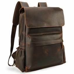 """Vintage Men Leather Backpack 16"""" Laptop School Bag Hiking Tr"""