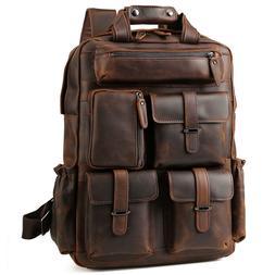 """Vintage Men Leather Backpack 17"""" Laptop Bag Large Hiking Tra"""