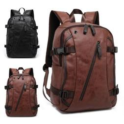 Vintage Men's Leather Backpack Waterproof School Bag Laptop