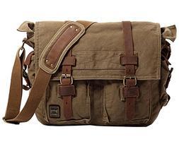 Berchirly Vintage Military Men Canvas Messenger Bag for 17.3
