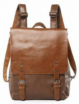 Kenox Vintage PU Leather Laptop Backpack Knapsack Rucksack W