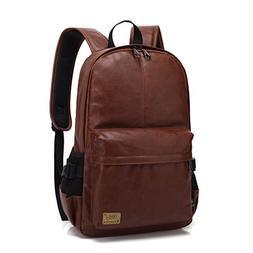 ZEBELLA Vintage PU Leather Laptop Backpack School Book Bag C