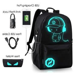 waterproof anime laptop luminous backpack usb charging