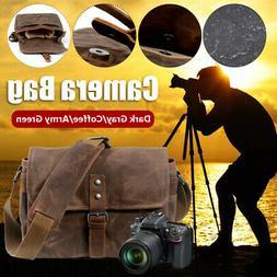 Waterproof Canvas Leather Trim DSLR SLR Shockproof Camera Me