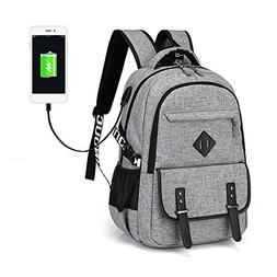 Waterproof Laptop Backpack Polyester Solid Notebook Bag with