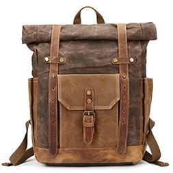 Mwatcher Waterproof Waxed Canvas Leather Backpack College We