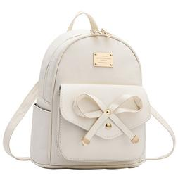 Women Bowknot Cute Faux Leather Backpack Mini Purse for Juni