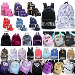 Women Canvas Backpack Shoulder School Book Bags Girl Rucksac