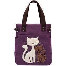 KAUKKO Women's Casual Canvas Cat Handbag Tote Bag Purple