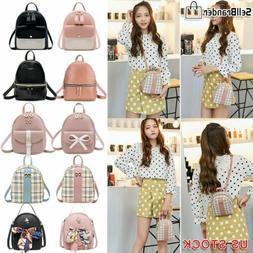 Women Girls School Bag PU Leather Backpack Mini Rucksack Pur