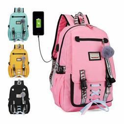 Women Girls School Bag Waterproof Teenage Backpack USB Port