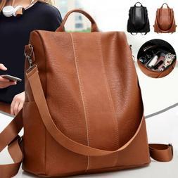 Women Leather Backpack Preppy School Bag High-capacity Lapto