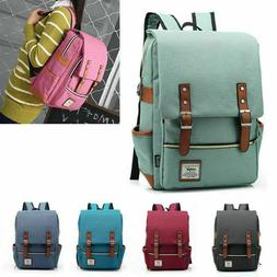 women men canvas leather travel sports backpack