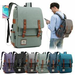 Women Men Girl Canvas Leather Travel Backpack Satchel Rucksa