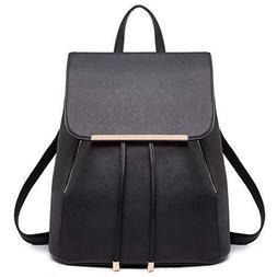 Women's Fashionable Black Backpack Bag - Multi Functional -