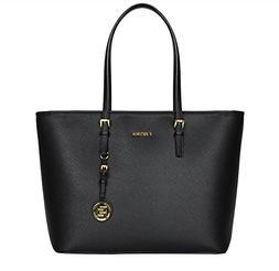 Women's Saffiano Leather Top Zip Tote Bag Handbags Handle S