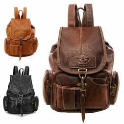 Women Vintage Leather Backpack Bag Shoulder School Travel Ba