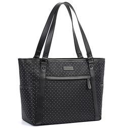 Womens Laptop Bag, BRINCH Stylish Nylon Zip White Dot Laptop