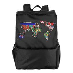 World Map Unisex Classic Backpack For School Travel Daypack