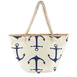 Lux Accessories Lux Accessories Zip Up Beach Bag Navy Blue