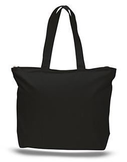 Zip Top Heavy Canvas Tote Bag with Bottom Gusset, Black, Set